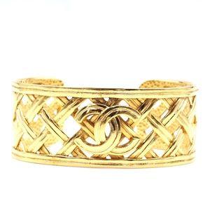 Cc Woven Cutout Cuff Bangle Bracelet